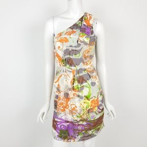 Renee C Abstract One Shoulder Dress Size Small